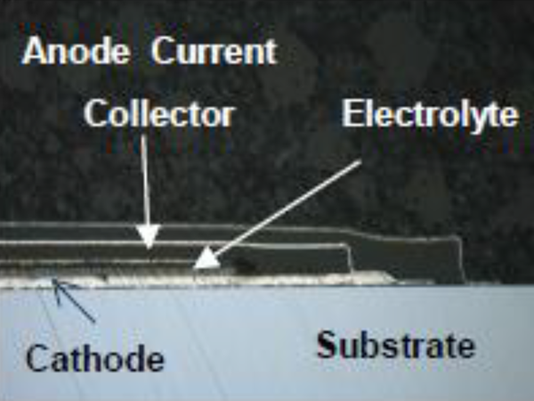 SEM image of a thin film battery showing the component stacking and substrate